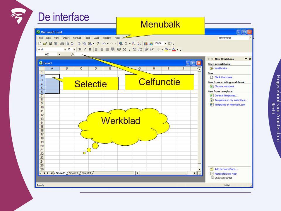 De interface Werkblad Functieveld Menubalk Selectie Werkblad Celfunctie
