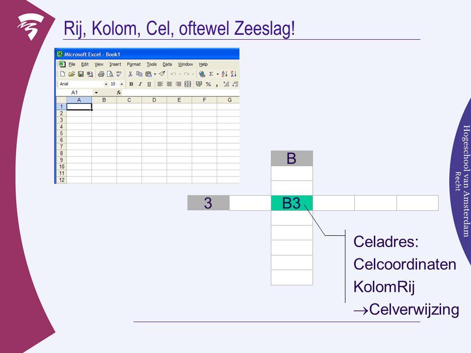 Rij, Kolom, Cel, oftewel Zeeslag! 3 B B3 Celadres: Celcoordinaten KolomRij  Celverwijzing