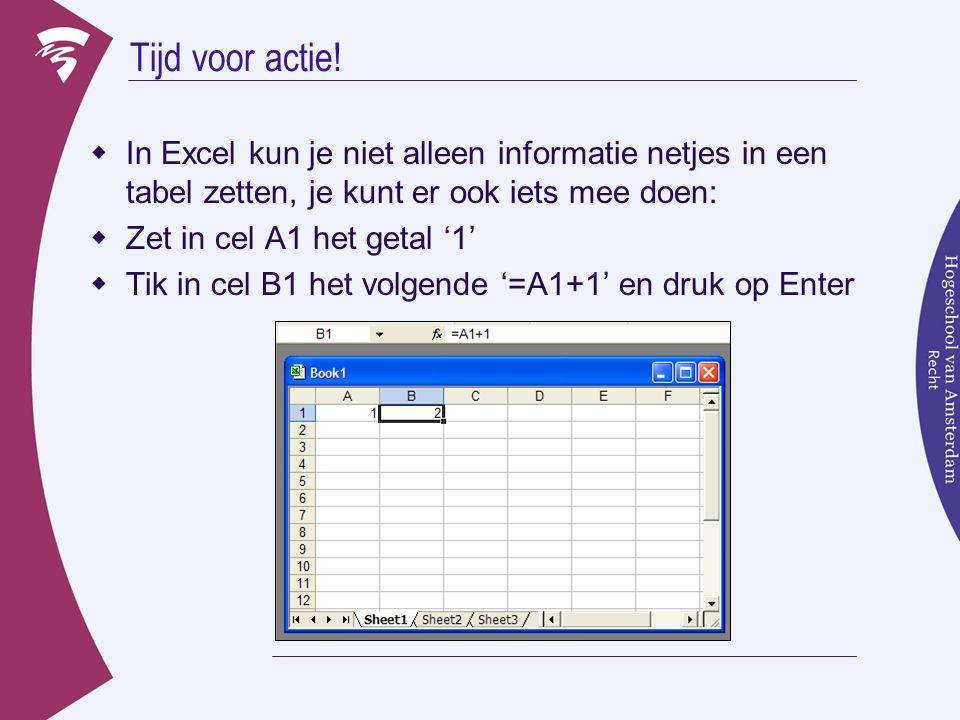 Tijd voor actie!  In Excel kun je niet alleen informatie netjes in een tabel zetten, je kunt er ook iets mee doen:  Zet in cel A1 het getal '1'  Ti