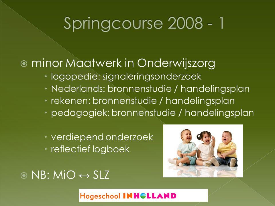  minor Maatwerk in Onderwijszorg  logopedie: signaleringsonderzoek  Nederlands: bronnenstudie / handelingsplan  rekenen: bronnenstudie / handeling