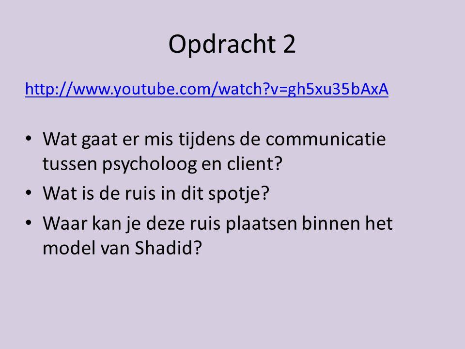 Opdracht 2 http://www.youtube.com/watch?v=gh5xu35bAxA Wat gaat er mis tijdens de communicatie tussen psycholoog en client.