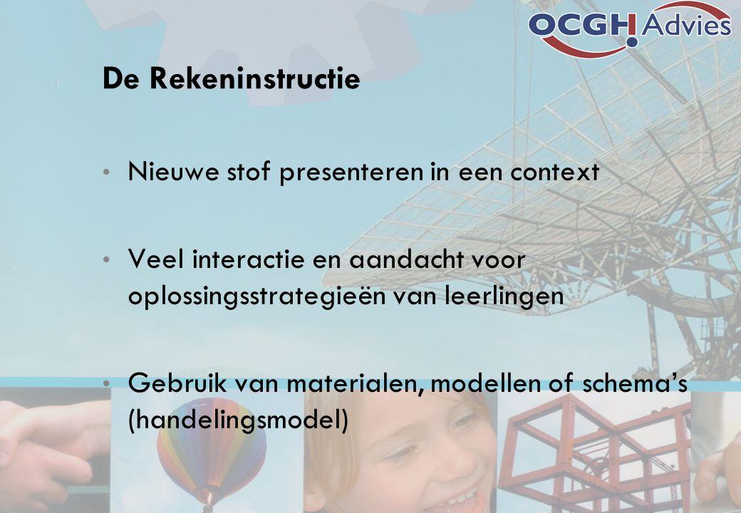 De Rekeninstructie Nieuwe stof presenteren in een context Veel interactie en aandacht voor oplossingsstrategieën van leerlingen Gebruik van materialen
