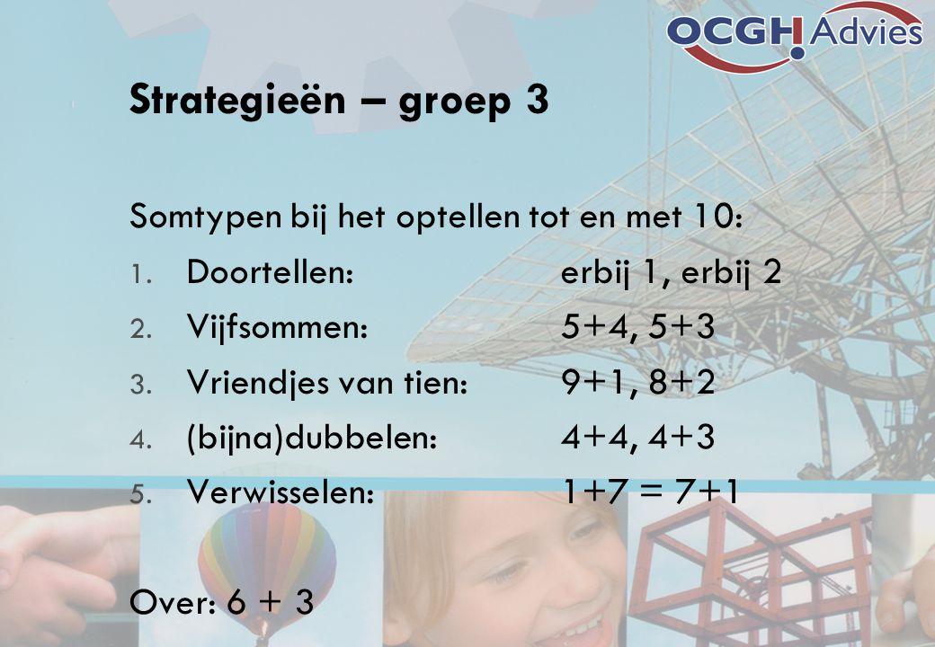 Strategieën – groep 3 Somtypen bij het optellen tot en met 10: 1. Doortellen: erbij 1, erbij 2 2. Vijfsommen:5+4, 5+3 3. Vriendjes van tien:9+1, 8+2 4