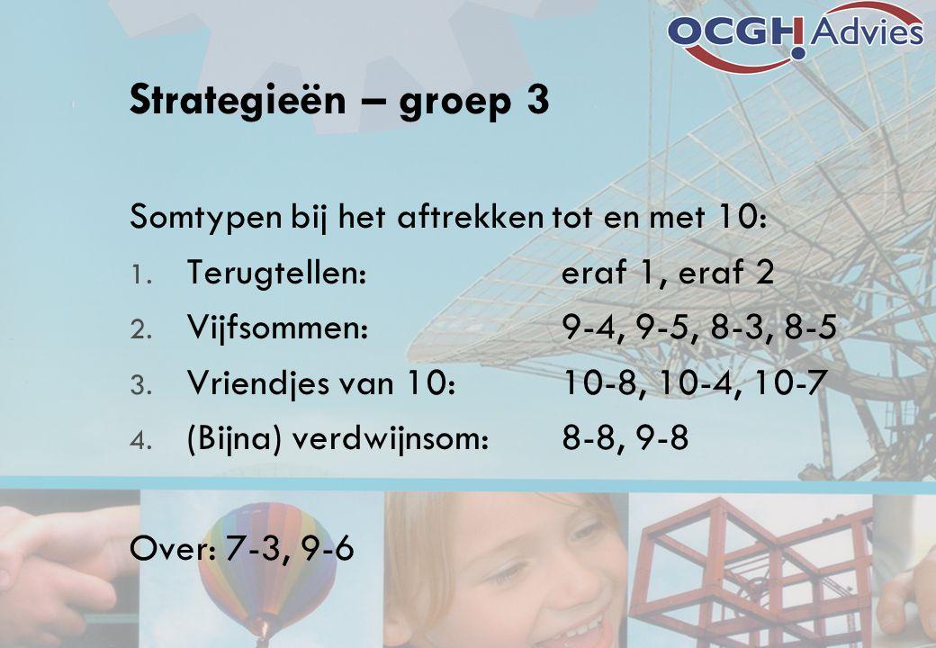 Strategieën – groep 3 Somtypen bij het aftrekken tot en met 10: 1. Terugtellen:eraf 1, eraf 2 2. Vijfsommen:9-4, 9-5, 8-3, 8-5 3. Vriendjes van 10:10-