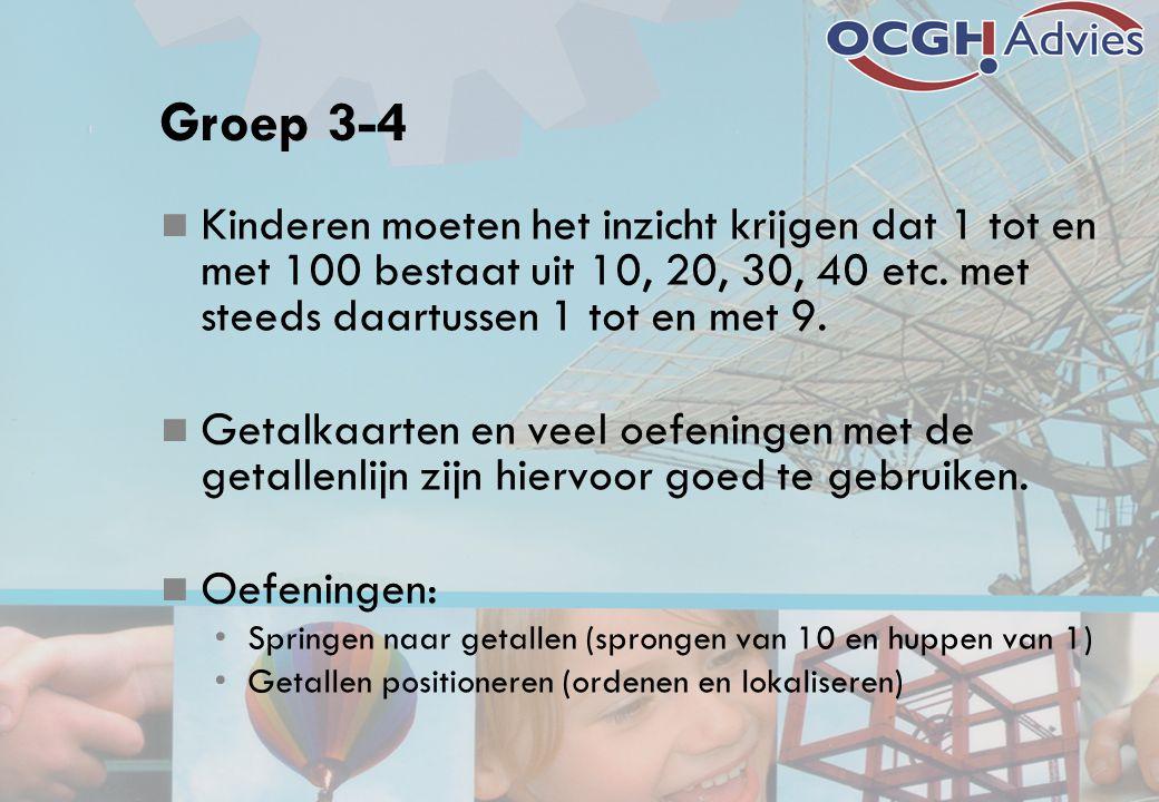 Groep 3-4 Kinderen moeten het inzicht krijgen dat 1 tot en met 100 bestaat uit 10, 20, 30, 40 etc. met steeds daartussen 1 tot en met 9. Getalkaarten