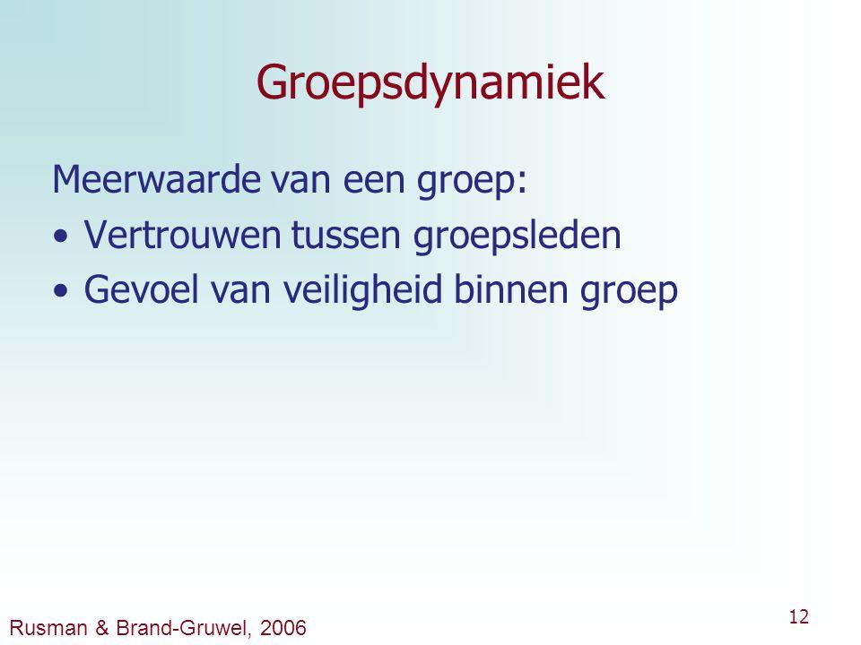12 Groepsdynamiek Meerwaarde van een groep: Vertrouwen tussen groepsleden Gevoel van veiligheid binnen groep Rusman & Brand-Gruwel, 2006