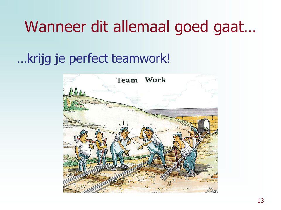13 Wanneer dit allemaal goed gaat… …krijg je perfect teamwork!