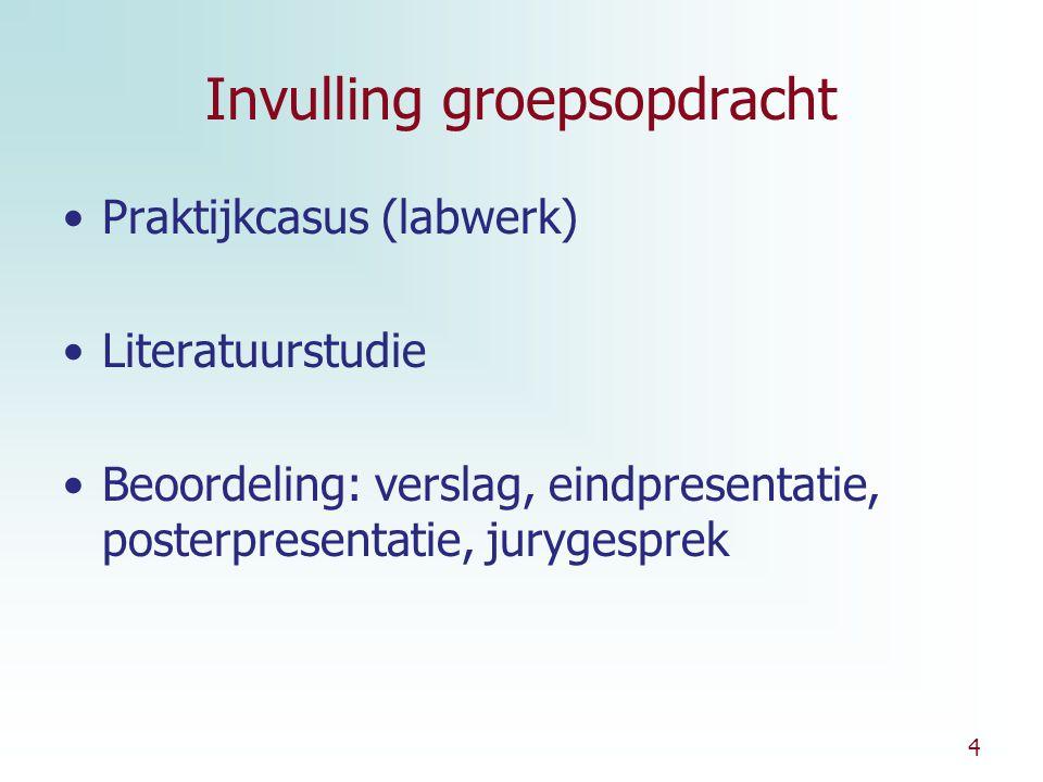 4 Invulling groepsopdracht Praktijkcasus (labwerk) Literatuurstudie Beoordeling: verslag, eindpresentatie, posterpresentatie, jurygesprek
