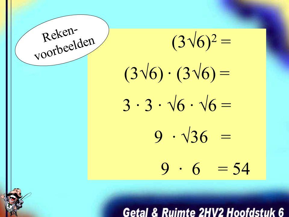 √117 = √ (9 · 13) = √ 9 · √13 = 3√13 √80 = √ (16 · 5) = √ 16 · √5 = 4√5 Een wortelgetal uitschrijven als produkt en dan in twee aparte wortelgetallen