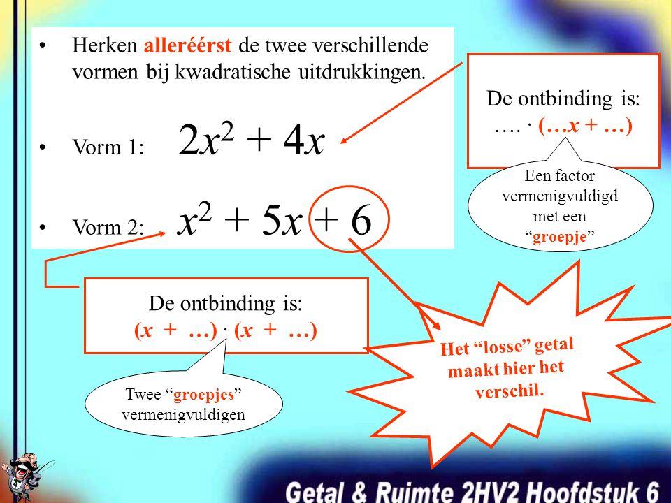 Ontbinden in factoren ga je straks gebruiken om kwadratische vergelijkingen op te lossen. Eérst leer je HOE HOE ontbinden in zijn werk gaat.