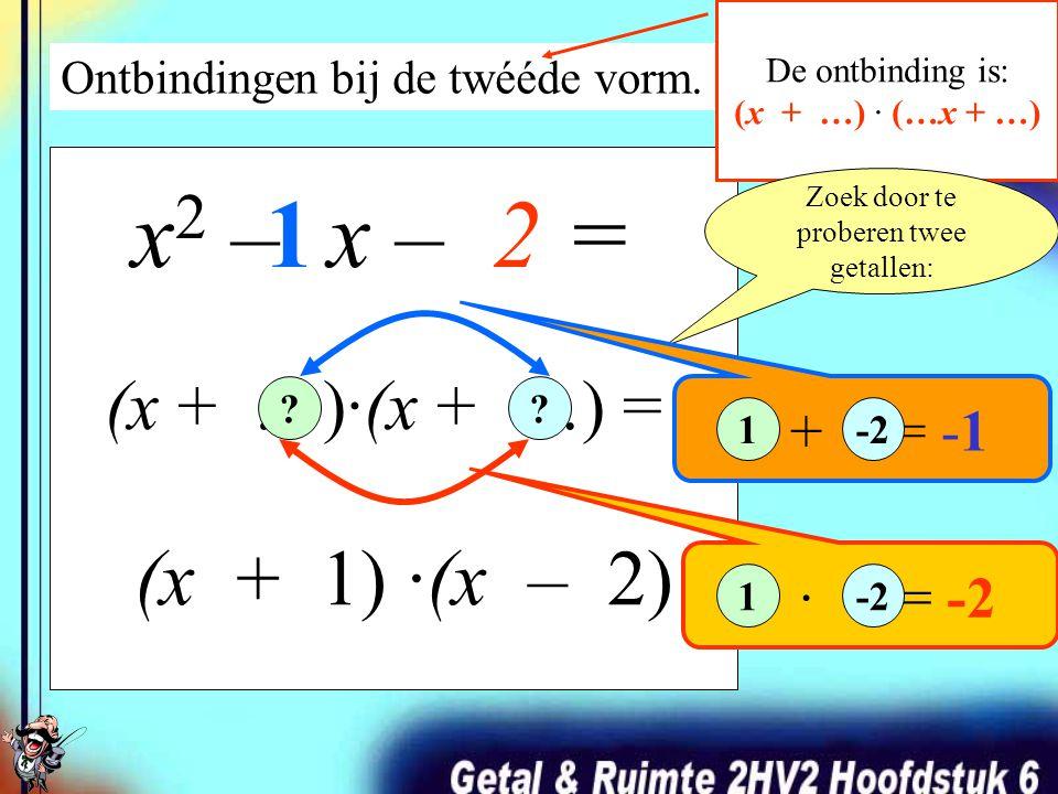 Ontbindingen bij de twééde vorm. De ontbinding is: (x + …) · (…x + …) x 2 – 5x + 6 = (x – 2) ·(x – 3) (x + …)·(x + …) = Zoek door te proberen twee get