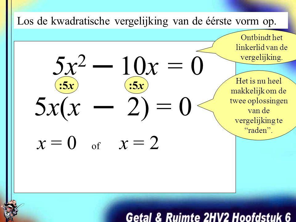 Los de kwadratische vergelijking van de twééde vorm op. x 2 ─ 10x + 24 = 0 (x ─ 4) ·(x ─ 6) = 0 De kwadratische vergelijking is nu ontbonden in factor