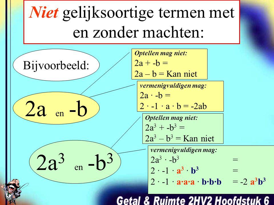 Gelijksoortige termen met en zonder machten: 2a en -a 2a 3 en -a 3 Bijvoorbeeld: Optellen mag: 2a + -a = 2a + -1a = 1a = a vermenigvuldigen mag: 2a · -a = 2 · -1 · a · a = -2 a 2 Optellen mag: 2a 3 + -a 3 = 2a 3 + -1a 3 = a 3 vermenigvuldigen mag: 2a 3 · -a 3 = 2 · -1 · a 3 · a 3 = 2 · -1 · a·a·a · a·a·a = -2 a 6