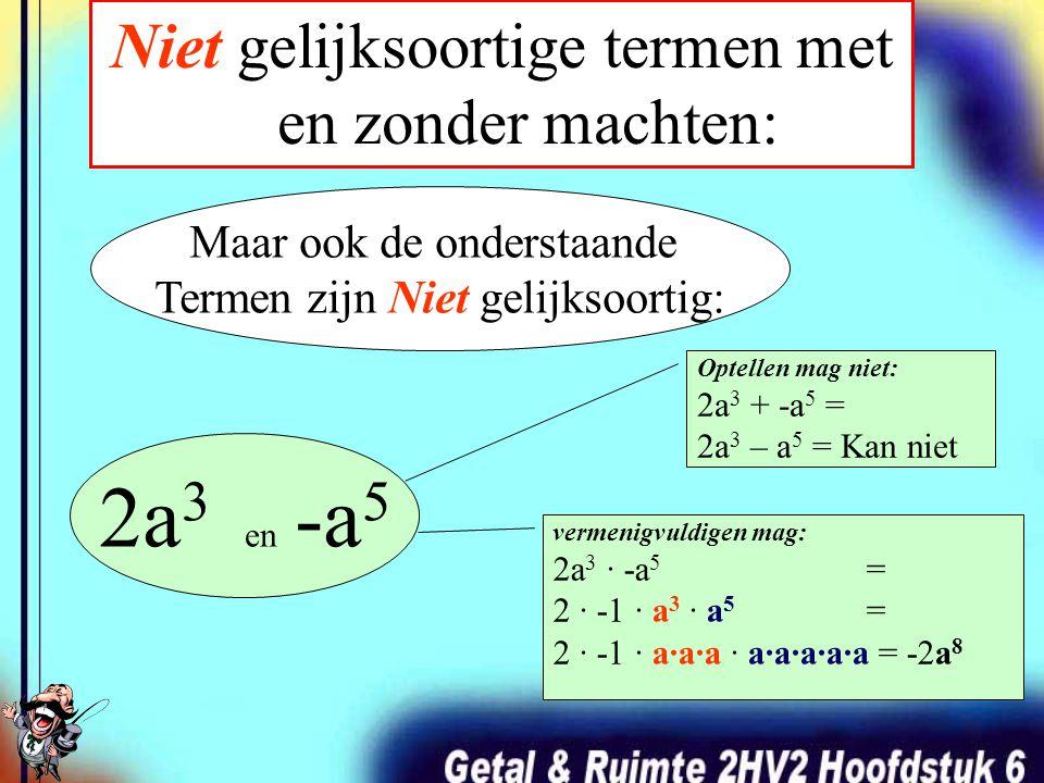 Niet gelijksoortige termen met en zonder machten: 2a en -b 2a 3 en -b 3 Bijvoorbeeld: Optellen mag niet: 2a + -b = 2a – b = Kan niet vermenigvuldigen mag: 2a · -b = 2 · -1 · a · b = -2ab Optellen mag niet: 2a 3 + -b 3 = 2a 3 – b 3 = Kan niet vermenigvuldigen mag: 2a 3 · -b 3 = 2 · -1 · a 3 · b 3 = 2 · -1 · a·a·a · b·b·b = -2 a 3 b 3