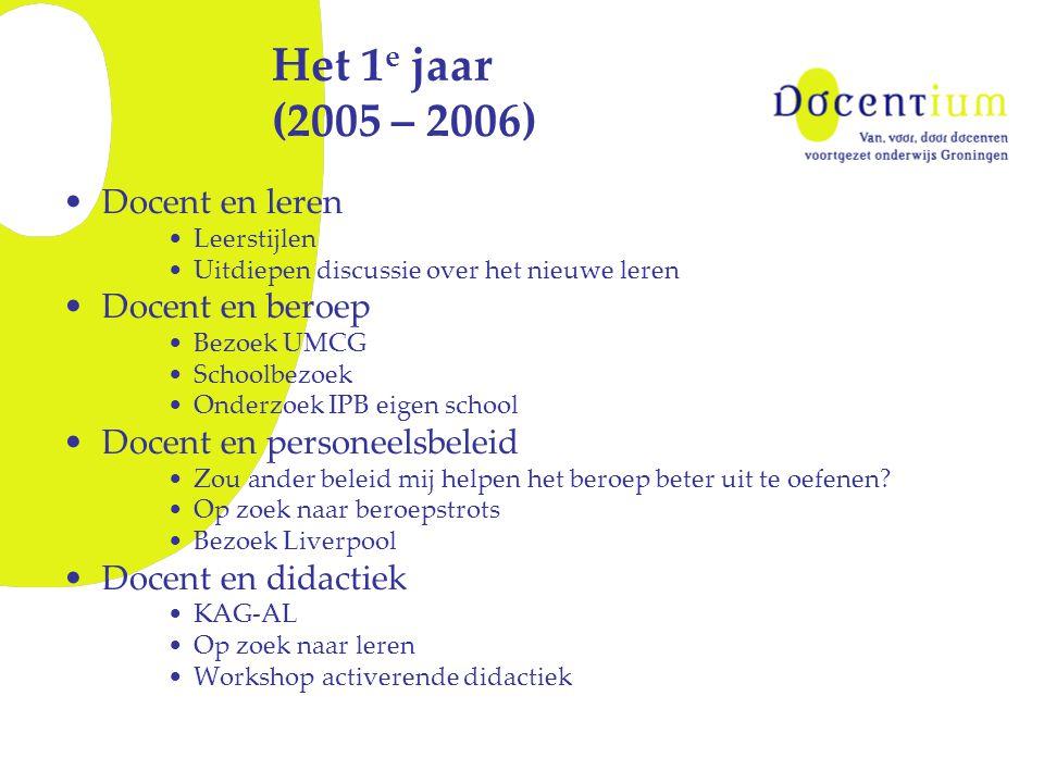 Het 1 e jaar (2005 – 2006) Docent en leren Leerstijlen Uitdiepen discussie over het nieuwe leren Docent en beroep Bezoek UMCG Schoolbezoek Onderzoek I