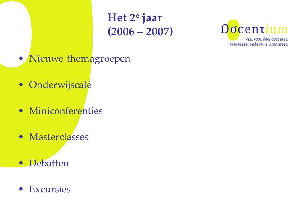 Het 2 e jaar (2006 – 2007) Nieuwe themagroepen Onderwijscafé Miniconferenties Masterclasses Debatten Excursies