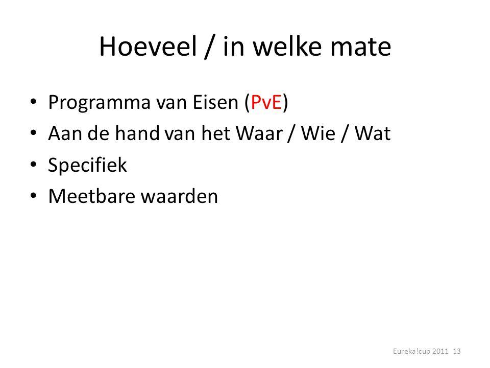 Eureka!cup 2011 13 Hoeveel / in welke mate Programma van Eisen (PvE) Aan de hand van het Waar / Wie / Wat Specifiek Meetbare waarden