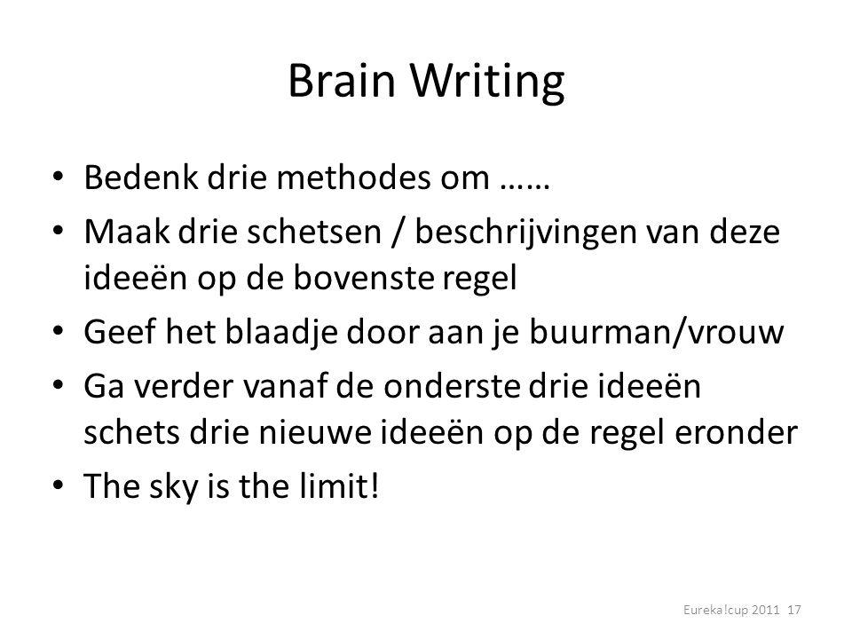 Eureka!cup 2011 17 Brain Writing Bedenk drie methodes om …… Maak drie schetsen / beschrijvingen van deze ideeën op de bovenste regel Geef het blaadje