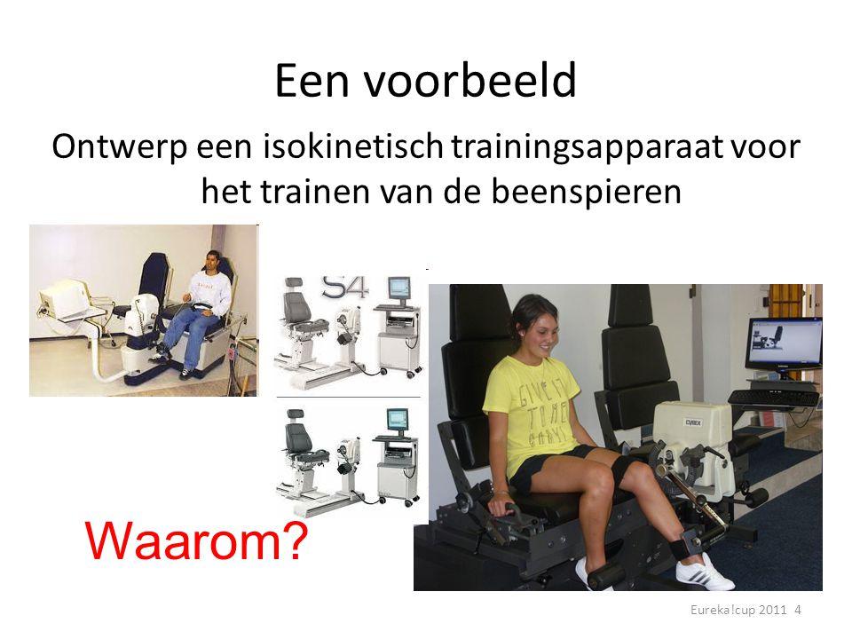 Eureka!cup 2011 4 Een voorbeeld Ontwerp een isokinetisch trainingsapparaat voor het trainen van de beenspieren Waarom?