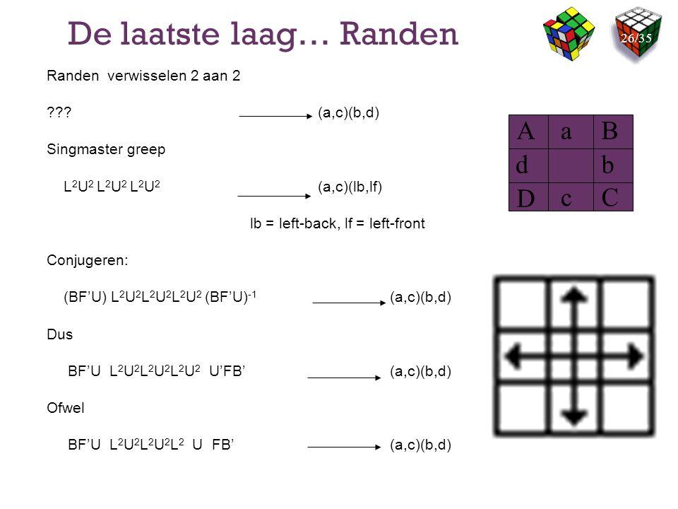 De laatste laag… Randen Randen verwisselen 2 aan 2 ???(a,c)(b,d) Singmaster greep L 2 U 2 L 2 U 2 L 2 U 2 (a,c)(lb,lf) lb = left-back, lf = left-front