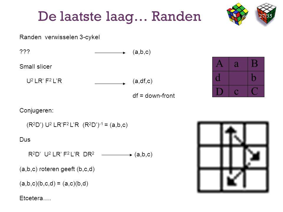 De laatste laag… Randen Randen verwisselen 3-cykel ???(a,b,c) Small slicer U 2 LR' F 2 L'R (a,df,c) df = down-front Conjugeren: (R 2 D') U 2 LR'F 2 L'