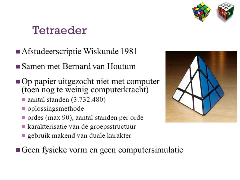 Tetraeder Afstudeerscriptie Wiskunde 1981 Samen met Bernard van Houtum Op papier uitgezocht niet met computer (toen nog te weinig computerkracht) aant