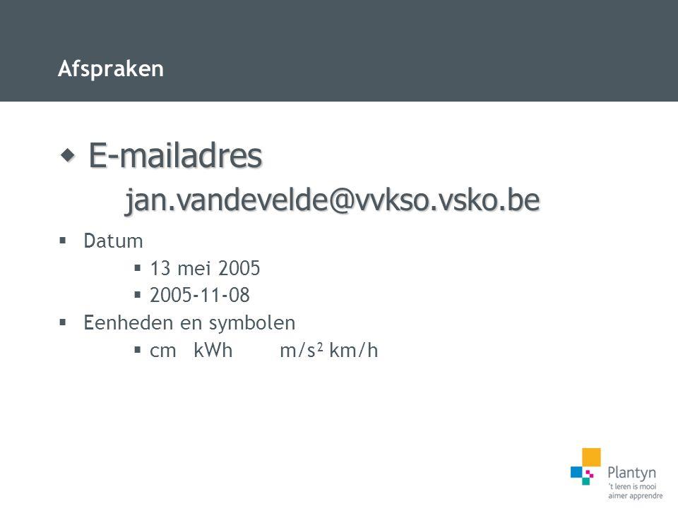 Afspraken  Datum  13 mei 2005  2005-11-08  Eenheden en symbolen  cmkWh m/s²km/h  E-mailadres jan.vandevelde@vvkso.vsko.be