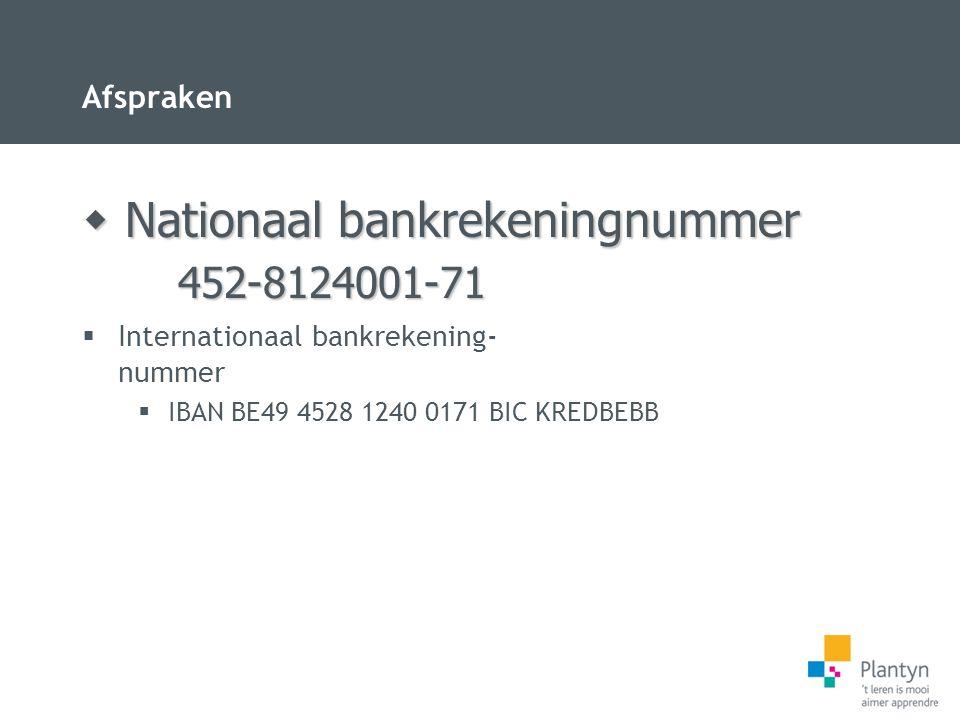 Afspraken  Internationaal bankrekening- nummer  IBAN BE49 4528 1240 0171 BIC KREDBEBB  Nationaal bankrekeningnummer 452-8124001-71