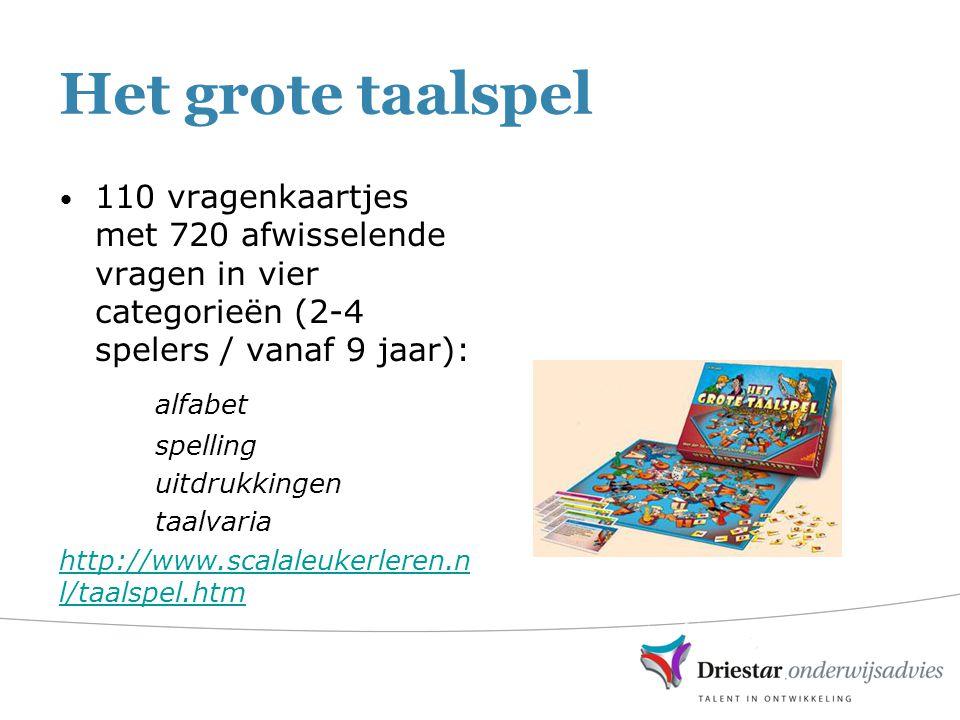 Het grote taalspel 110 vragenkaartjes met 720 afwisselende vragen in vier categorieën (2-4 spelers / vanaf 9 jaar): alfabet spelling uitdrukkingen taa