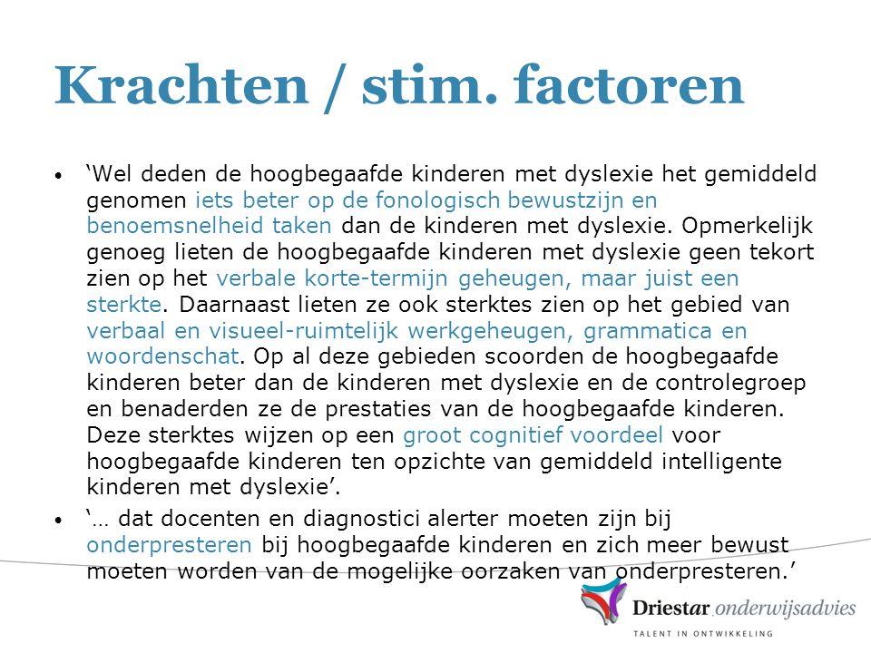 Krachten / stim. factoren 'Wel deden de hoogbegaafde kinderen met dyslexie het gemiddeld genomen iets beter op de fonologisch bewustzijn en benoemsnel