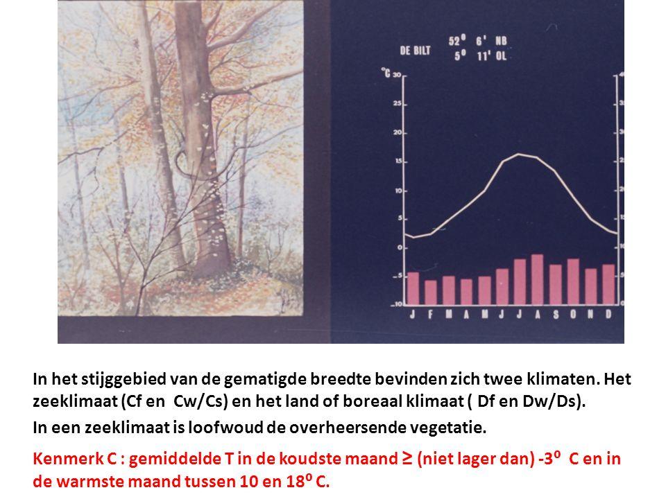 In het stijggebied van de gematigde breedte bevinden zich twee klimaten. Het zeeklimaat (Cf en Cw/Cs) en het land of boreaal klimaat ( Df en Dw/Ds). I