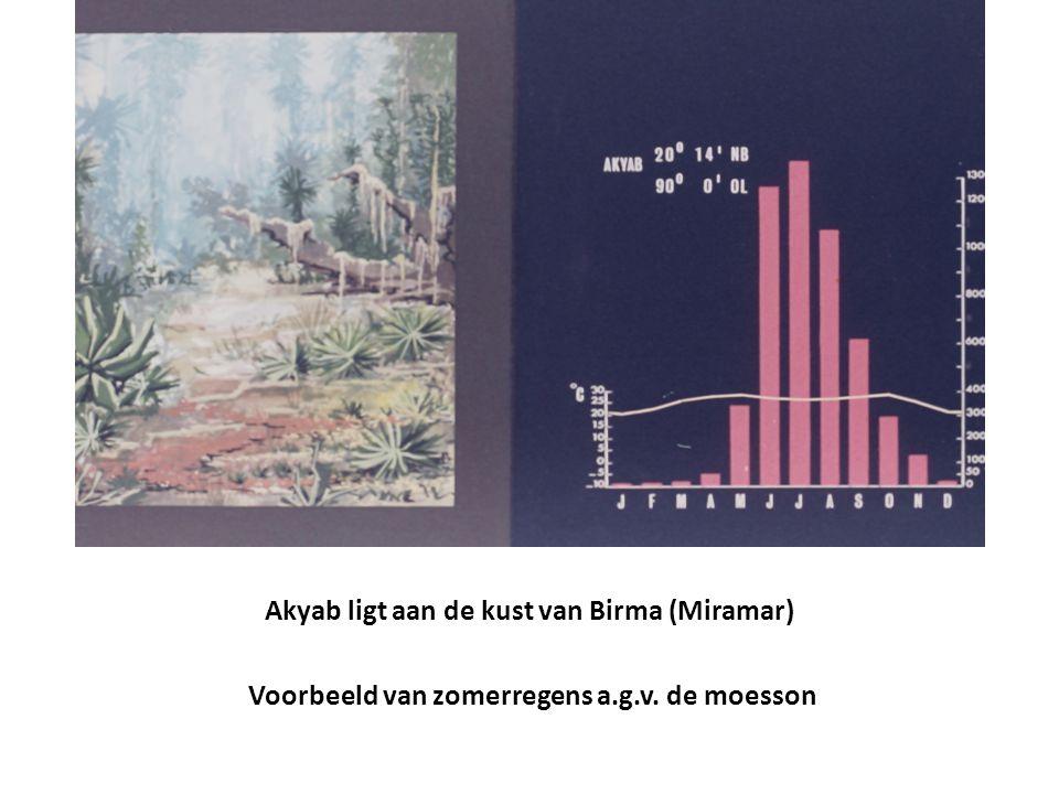 Akyab ligt aan de kust van Birma (Miramar) Voorbeeld van zomerregens a.g.v. de moesson