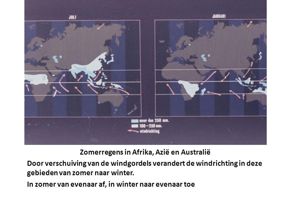 Zomerregens in Afrika, Azië en Australië Door verschuiving van de windgordels verandert de windrichting in deze gebieden van zomer naar winter. In zom