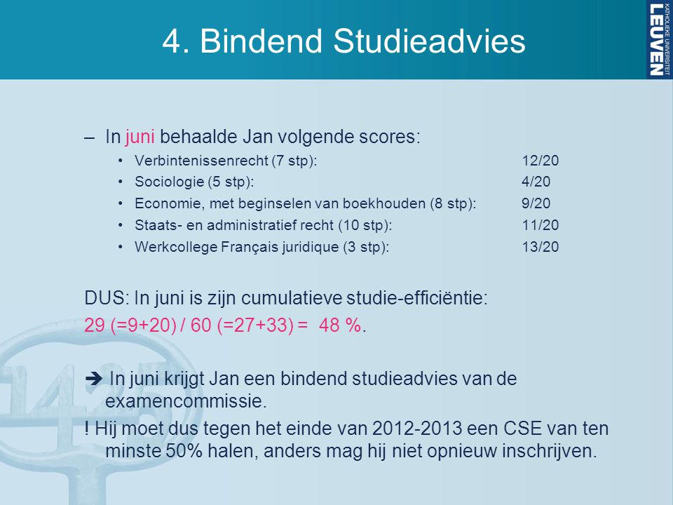 4. Bindend Studieadvies –In juni behaalde Jan volgende scores: Verbintenissenrecht (7 stp):12/20 Sociologie (5 stp):4/20 Economie, met beginselen van