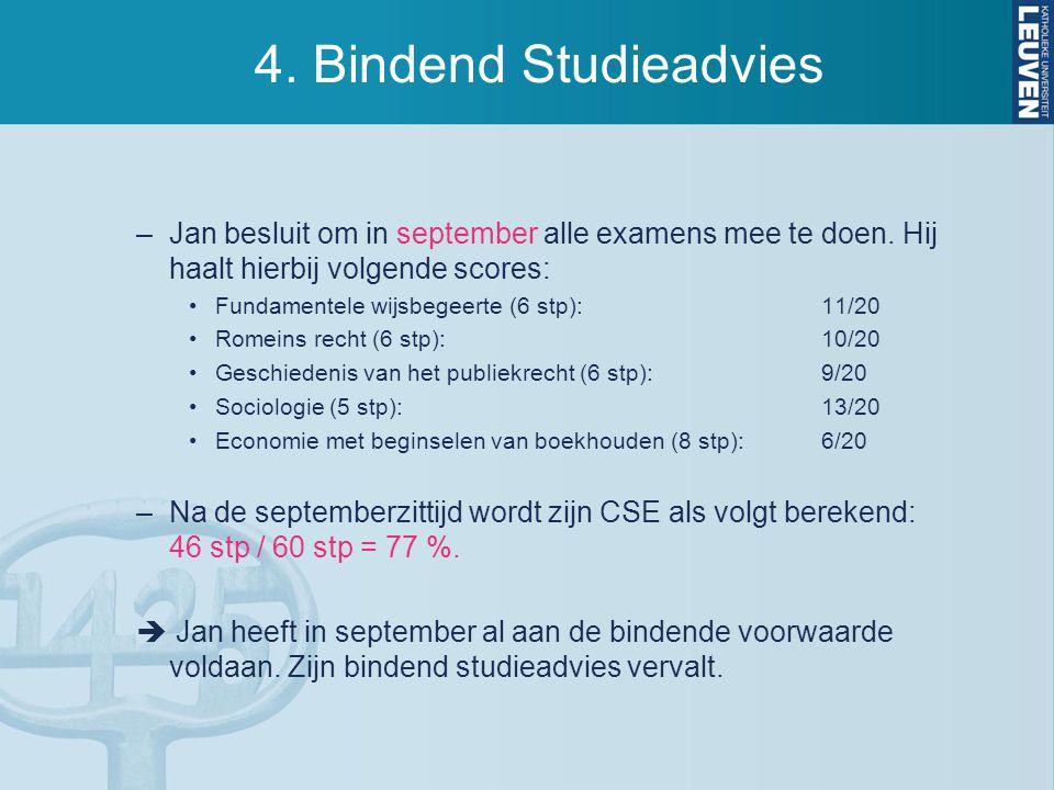 4. Bindend Studieadvies –Jan besluit om in september alle examens mee te doen. Hij haalt hierbij volgende scores: Fundamentele wijsbegeerte (6 stp):11