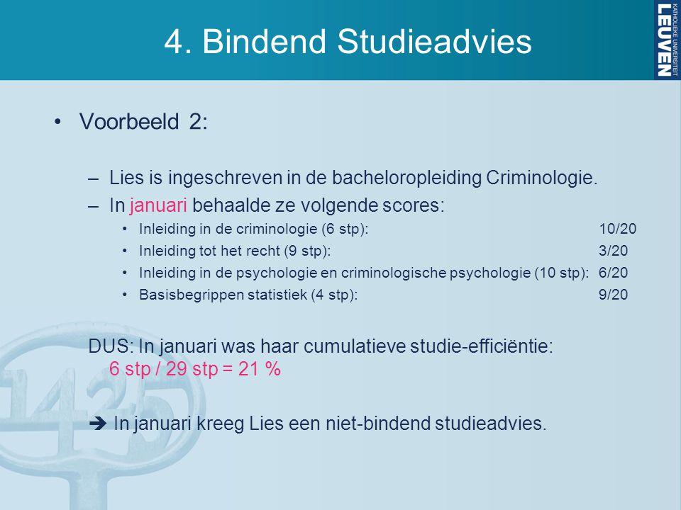 4. Bindend Studieadvies Voorbeeld 2: –Lies is ingeschreven in de bacheloropleiding Criminologie. –In januari behaalde ze volgende scores: Inleiding in