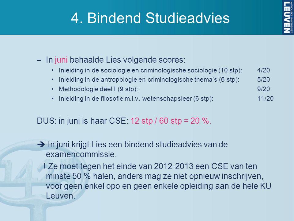 4. Bindend Studieadvies –In juni behaalde Lies volgende scores: Inleiding in de sociologie en criminologische sociologie (10 stp):4/20 Inleiding in de