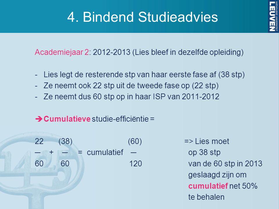 4. Bindend Studieadvies Academiejaar 2: 2012-2013 (Lies bleef in dezelfde opleiding) -Lies legt de resterende stp van haar eerste fase af (38 stp) -Ze