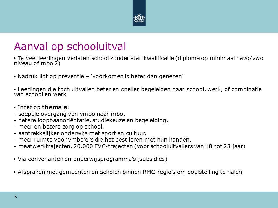 6 Aanval op schooluitval Te veel leerlingen verlaten school zonder startkwalificatie (diploma op minimaal havo/vwo niveau of mbo 2) Nadruk ligt op pre