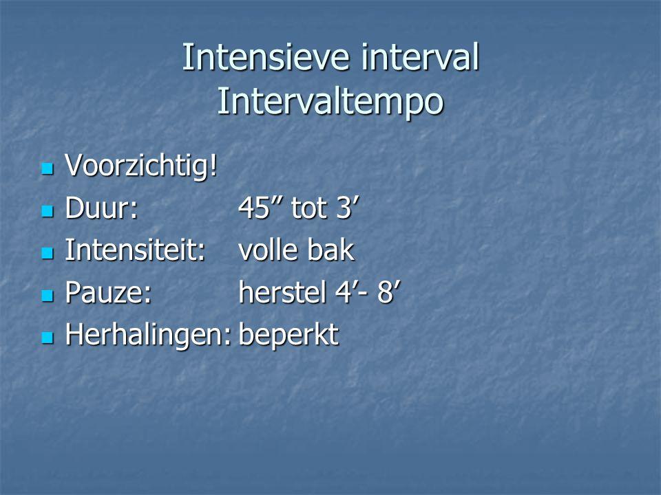 "Intensieve interval Intervaltempo Voorzichtig! Voorzichtig! Duur: 45"" tot 3' Duur: 45"" tot 3' Intensiteit:volle bak Intensiteit:volle bak Pauze:herste"