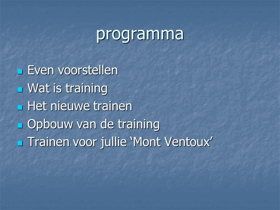 programma Even voorstellen Even voorstellen Wat is training Wat is training Het nieuwe trainen Het nieuwe trainen Opbouw van de training Opbouw van de