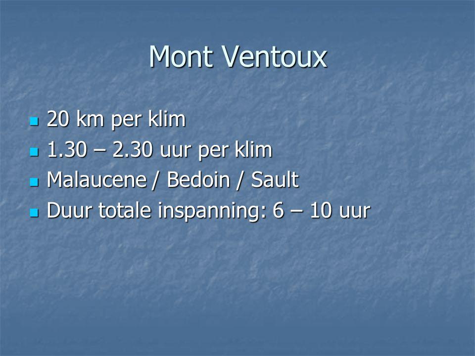 Mont Ventoux 20 km per klim 20 km per klim 1.30 – 2.30 uur per klim 1.30 – 2.30 uur per klim Malaucene / Bedoin / Sault Malaucene / Bedoin / Sault Duu