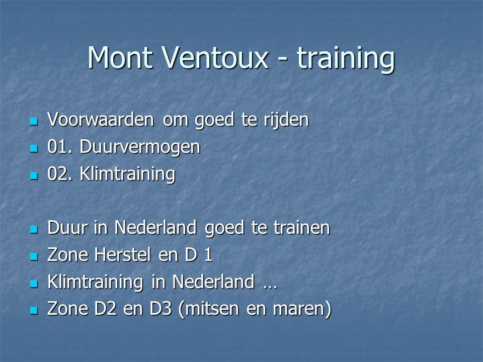 Mont Ventoux - training Voorwaarden om goed te rijden Voorwaarden om goed te rijden 01. Duurvermogen 01. Duurvermogen 02. Klimtraining 02. Klimtrainin