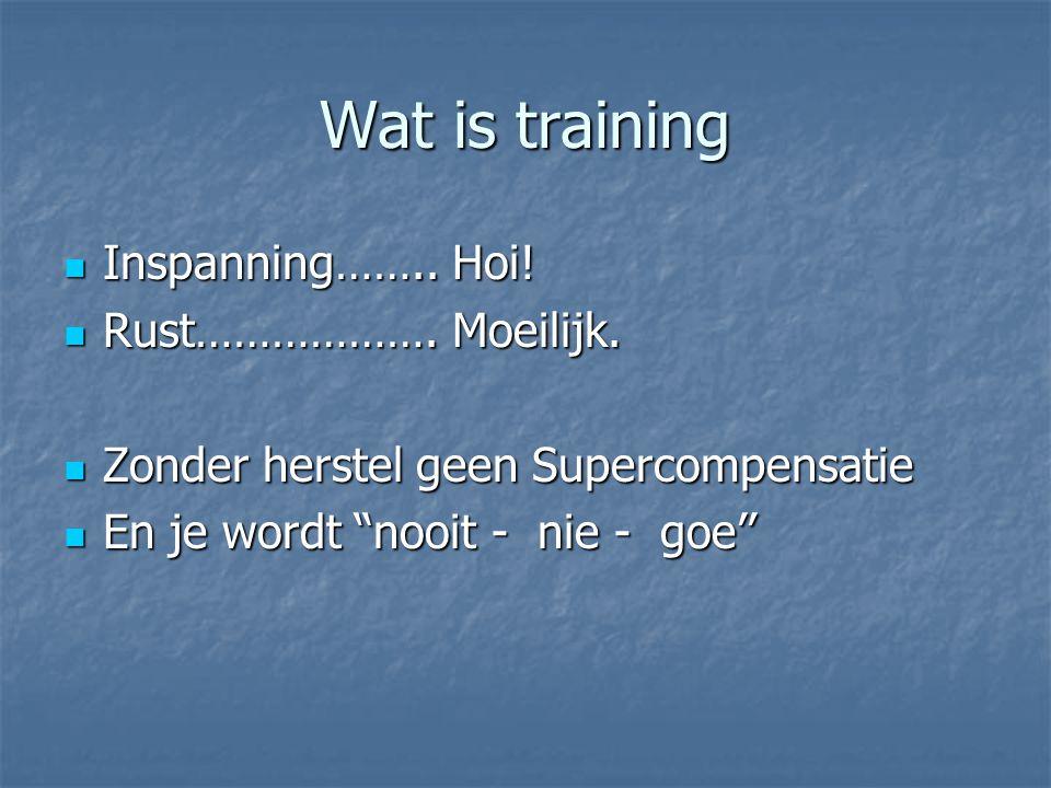 Wat is training Inspanning…….. Hoi! Inspanning…….. Hoi! Rust………………. Moeilijk. Rust………………. Moeilijk. Zonder herstel geen Supercompensatie Zonder herste