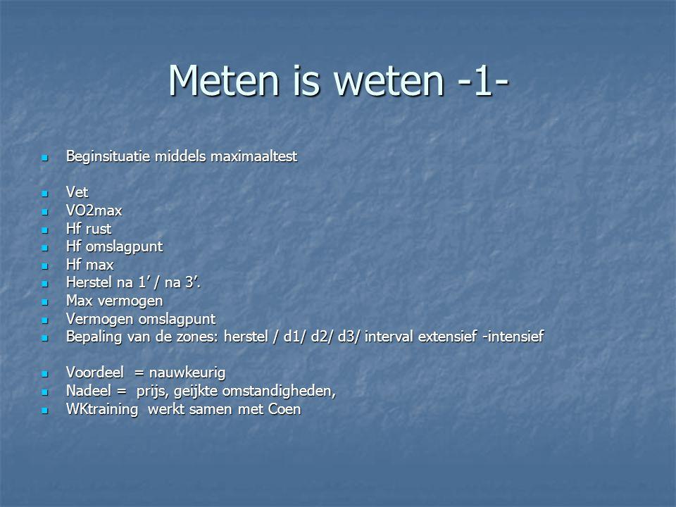 Meten is weten -1- Beginsituatie middels maximaaltest Beginsituatie middels maximaaltest Vet Vet VO2max VO2max Hf rust Hf rust Hf omslagpunt Hf omslag