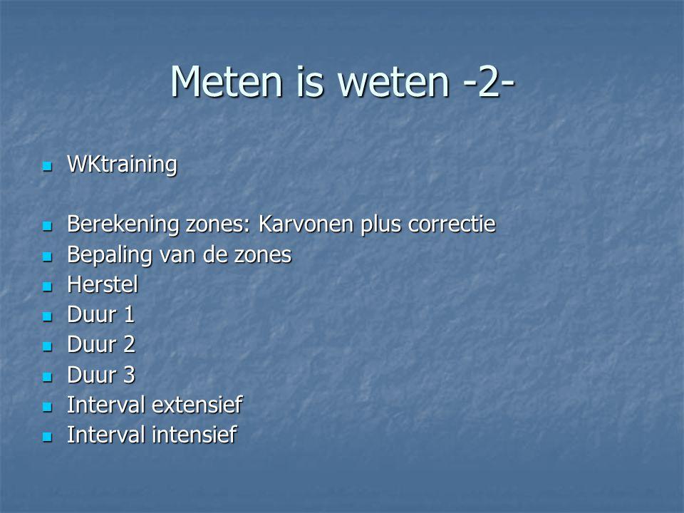 Meten is weten -2- WKtraining WKtraining Berekening zones: Karvonen plus correctie Berekening zones: Karvonen plus correctie Bepaling van de zones Bep