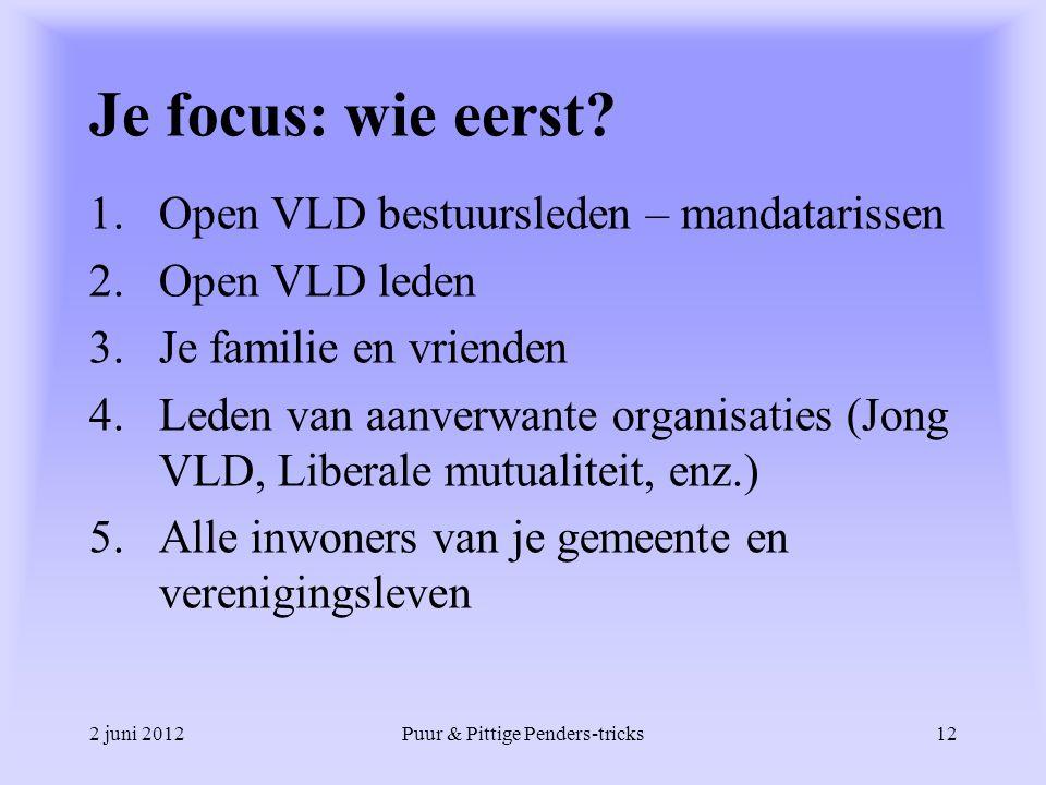 2 juni 2012Puur & Pittige Penders-tricks12 Je focus: wie eerst? 1.Open VLD bestuursleden – mandatarissen 2.Open VLD leden 3.Je familie en vrienden 4.L