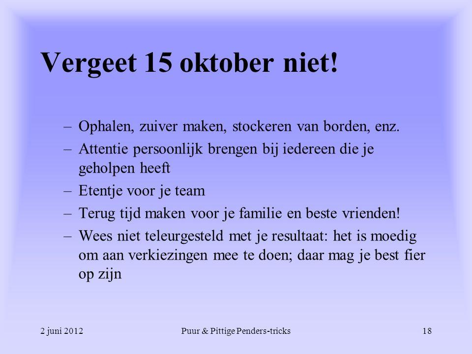 2 juni 2012Puur & Pittige Penders-tricks18 Vergeet 15 oktober niet! –Ophalen, zuiver maken, stockeren van borden, enz. –Attentie persoonlijk brengen b