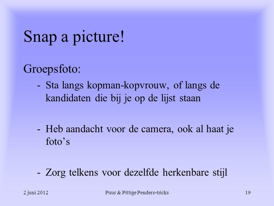 2 juni 2012Puur & Pittige Penders-tricks19 Snap a picture! Groepsfoto: -Sta langs kopman-kopvrouw, of langs de kandidaten die bij je op de lijst staan