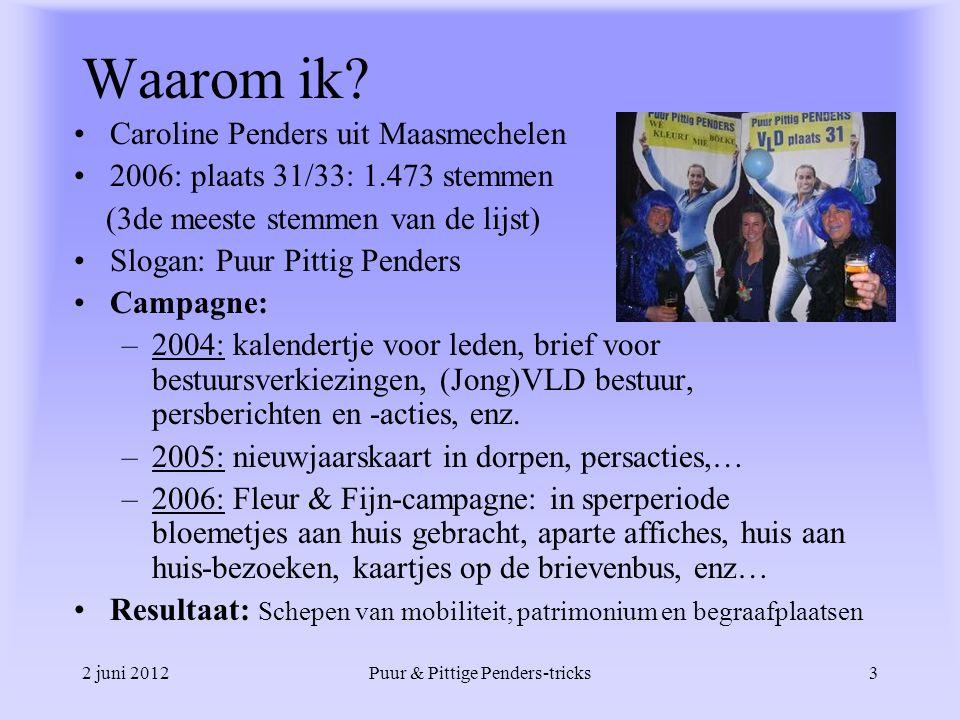 2 juni 2012Puur & Pittige Penders-tricks3 Waarom ik? Caroline Penders uit Maasmechelen 2006: plaats 31/33: 1.473 stemmen (3de meeste stemmen van de li